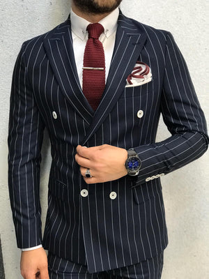 Season Navy Blue Striped Crochet Suit- 5 piece