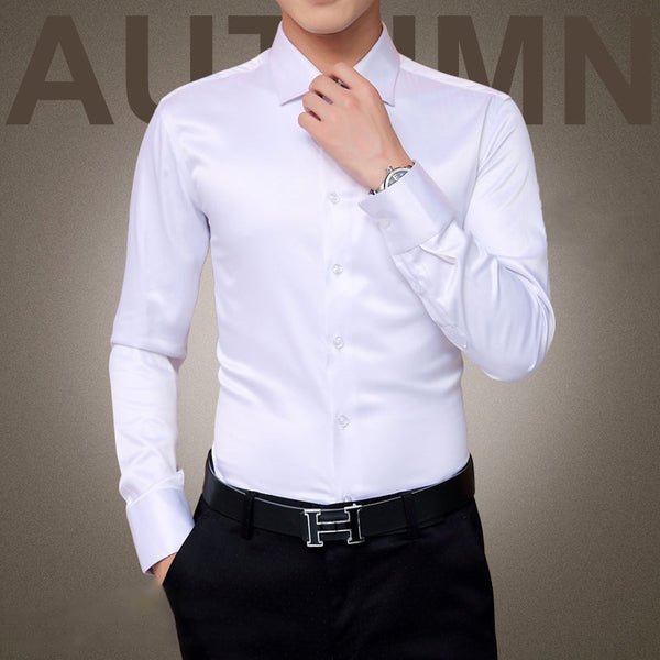 Men's Luxury Long Sleeve Cotton Silk Tuxedo Shirt
