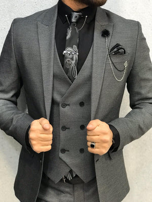 Luxury Fashion Grey Slim-Fit Suit - 6 Pieces Pack