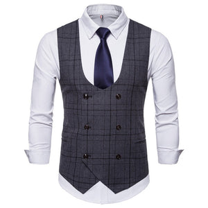 Men's Business Casual Vest High Quality Double Breasted Vest