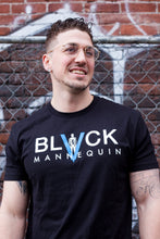 "Load image into Gallery viewer, BLACK MANNEQUIN - Black Classic ""BLUE V"" Crew Neck T-Shirt"