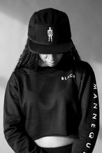 "Load image into Gallery viewer, BLACK MANNE""QUEEN"" -  Black Mannequin Crop Sweatshirt"