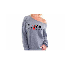 "BLACK MANNE""QUEEN"" -  Off The Shoulder / Drop Shoulder Sweatshirts"