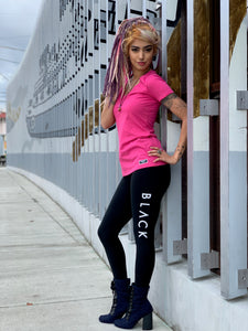 "BLACK MANNE""QUEEN"" - Pink Passion V Neck TShirt"