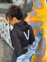 "Load image into Gallery viewer, BLACK MANNE""QUEEN"" -  Bad One Crop Hoodie"