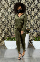 "Load image into Gallery viewer, BLACK MANNE""QUEEN"" - Less is More Velour 2 Piece Olive Green"