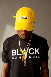 "BLACK MANNEQUIN - Black Classic ""YELLOW V"" Crew Neck T-Shirt"