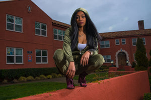 "BLACK MANNE""QUEEN"" - Less is More Velour 2 Piece Olive Green"