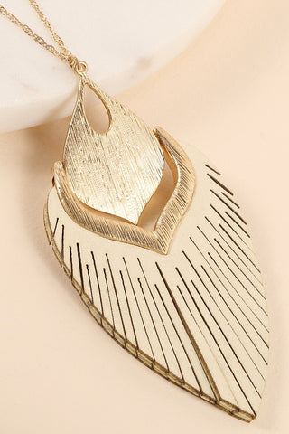Leather Tassel Metal Necklace