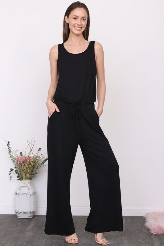Front Pocket Drawstring Jumpsuit
