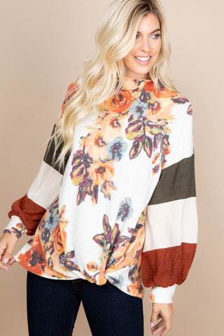 Floral Color Block Long Sleeve