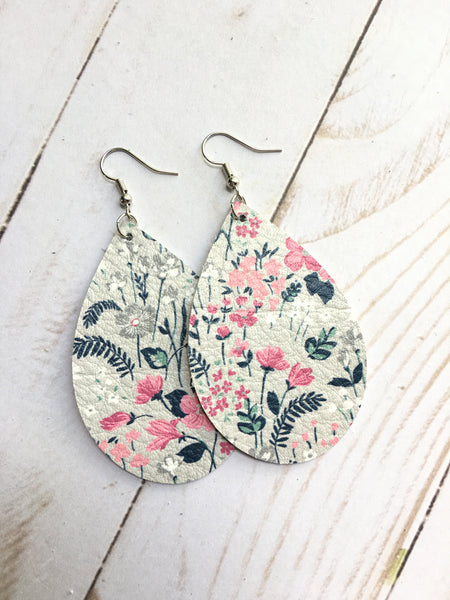 Pastel Grey Wild Flower Fields Earrings