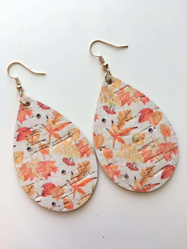 Cork Fall Leaves Earrings