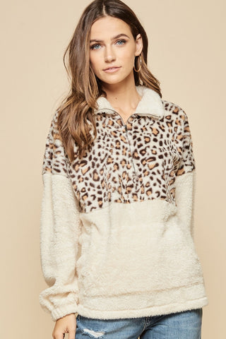 Shearling Leopard Pullover
