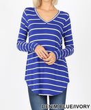 Stripe It Long Sleeve V Neck