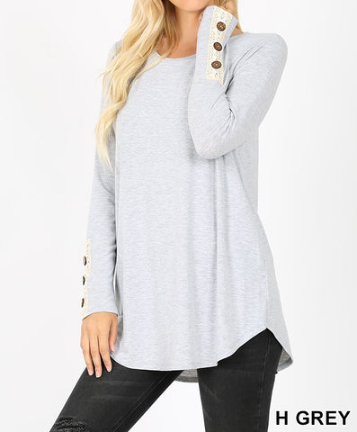 Lace Button Cuff Long Sleeve