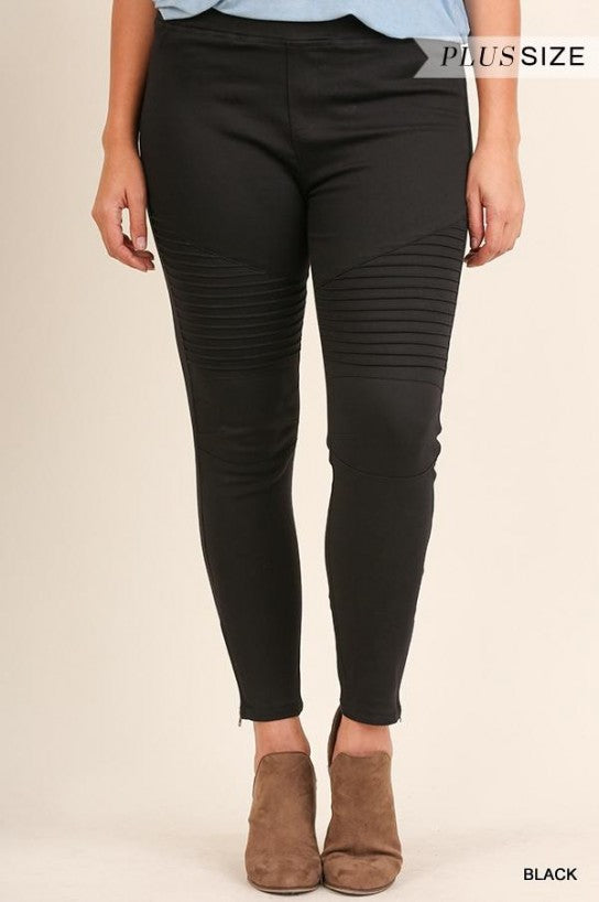Black Moto Jeggings with Pintuck and Zipper Detail