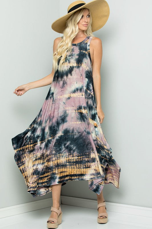 Handkercheif Hem Tie Dye Dress