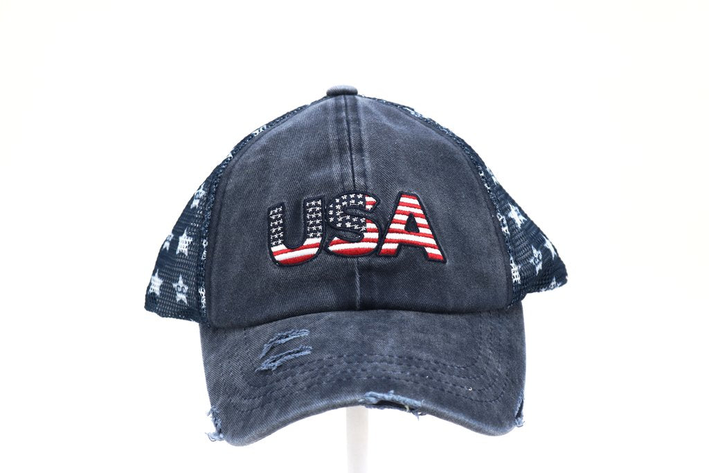 Distressed USA Patch Star Ball Cap