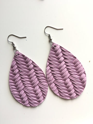 Light Lavender Braided Leather Earrings