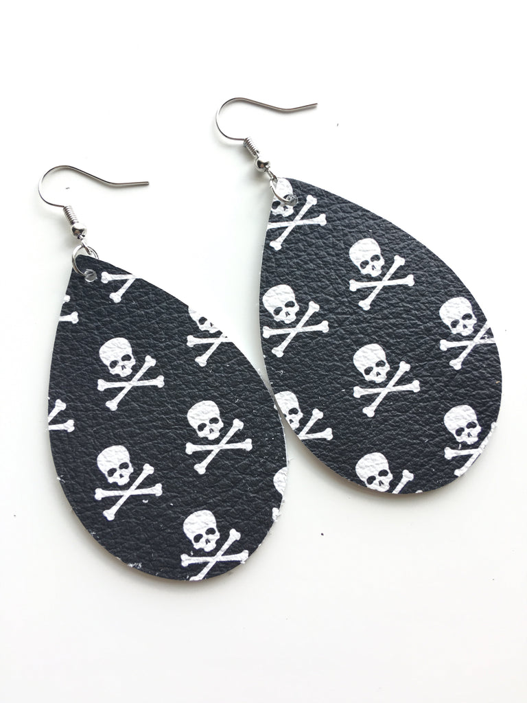 Pirates Flag Leather Earrings