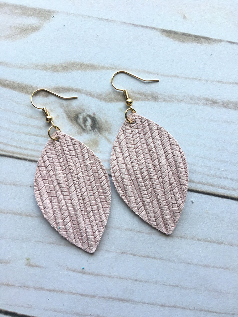Blush Pink Royal Palm Leather Earrings