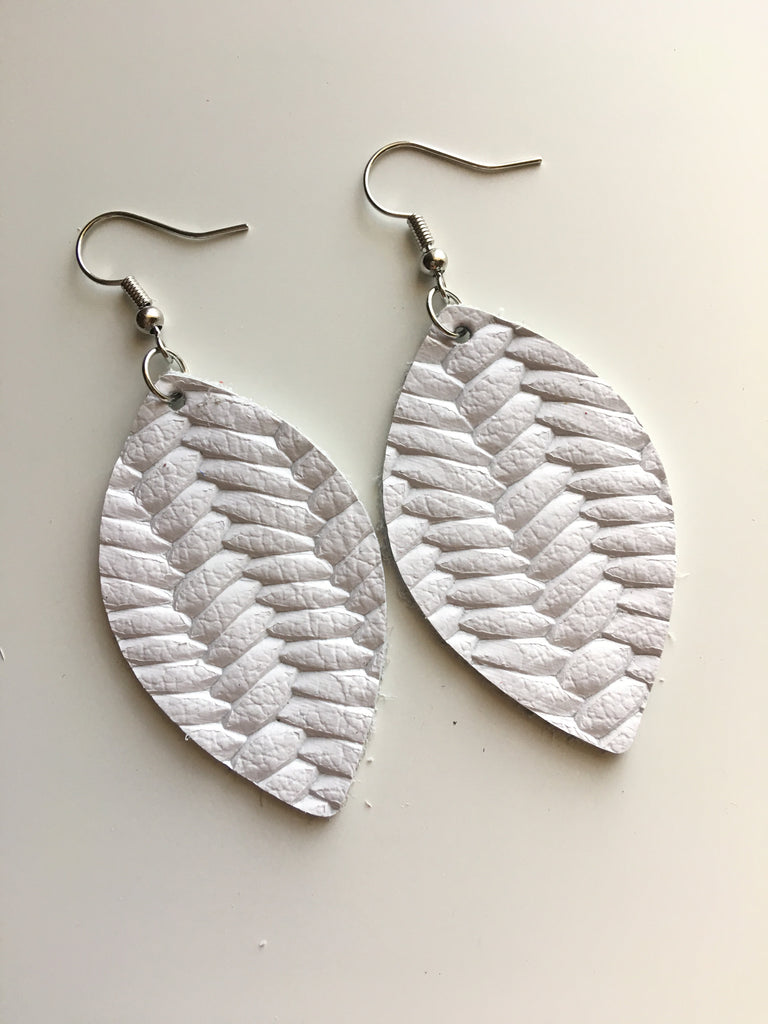 White Braided Leather Earrings