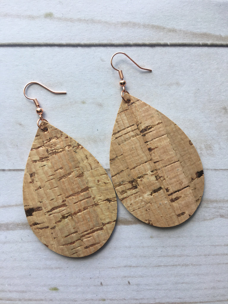 Rose Gold Flecked Cork Leather Earrings