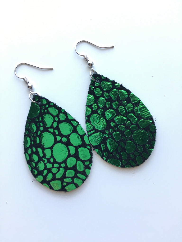 Green Metallic Pebble Earrings