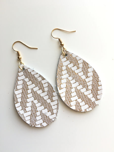 Gold and White Chevron Earrings