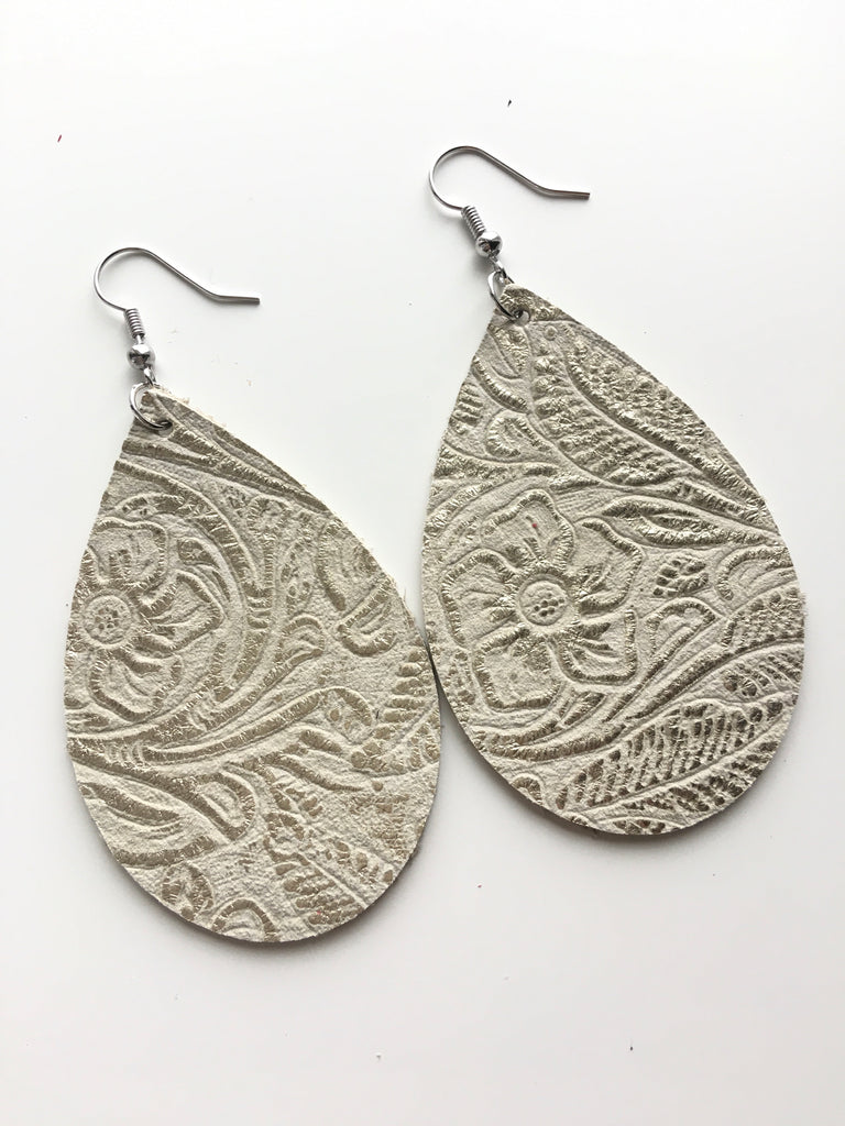 Taupe with Champagne Floral Emboss Earrings