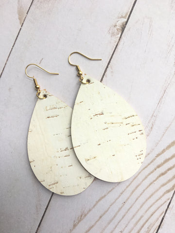 White Cork Leather Earrings