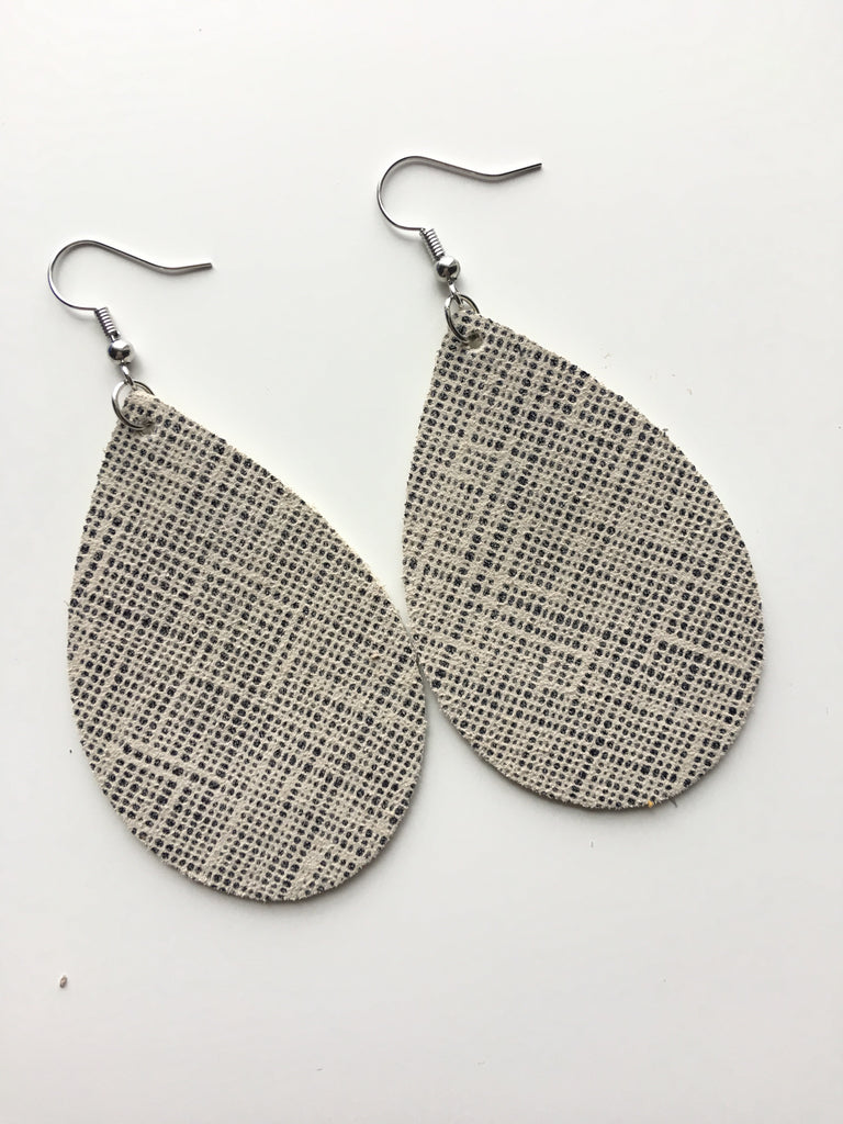 Taupe w/ Sparkle Black Dot Pattern Earrings
