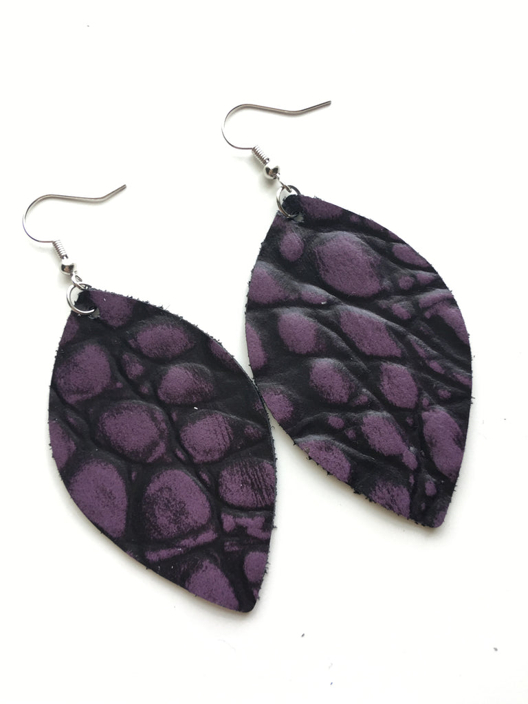 Purple Alligator Leather Earrings
