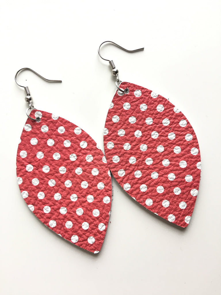Red with White Polka Dot Earrings
