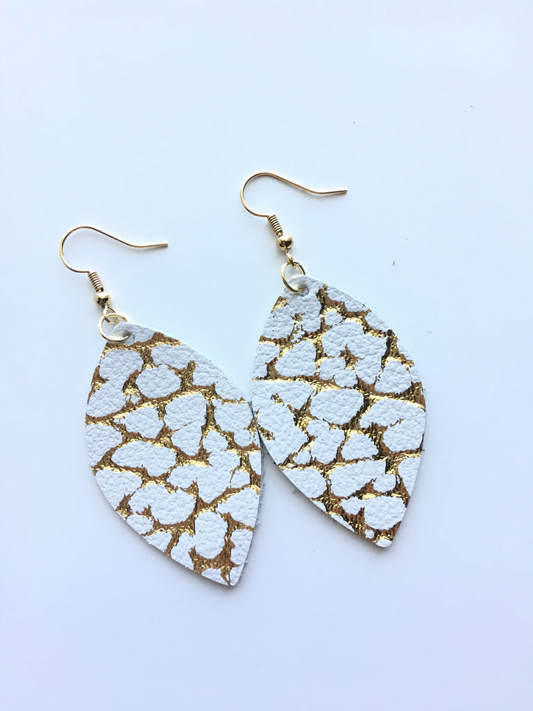 Gold Crackle Leather Earrings