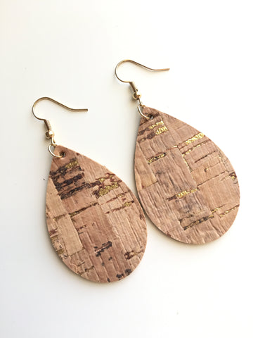 Gold Fleck Cork Leather Earrings