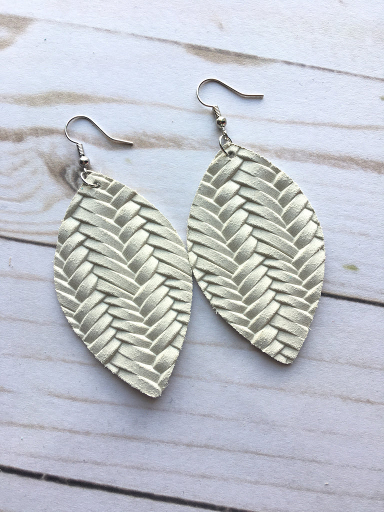 Cream Braided Leather Earrings