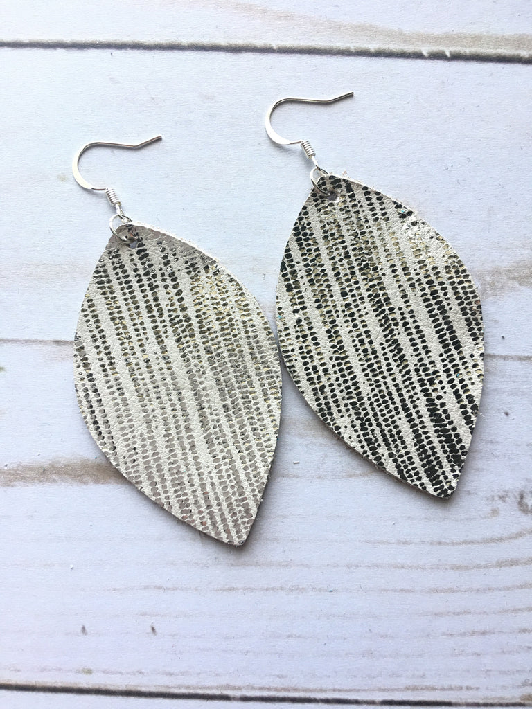 Silver Rain Leather Earrings