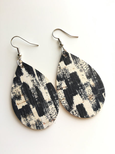 Black and Cream Brush Stroke Cork Leather Earrings