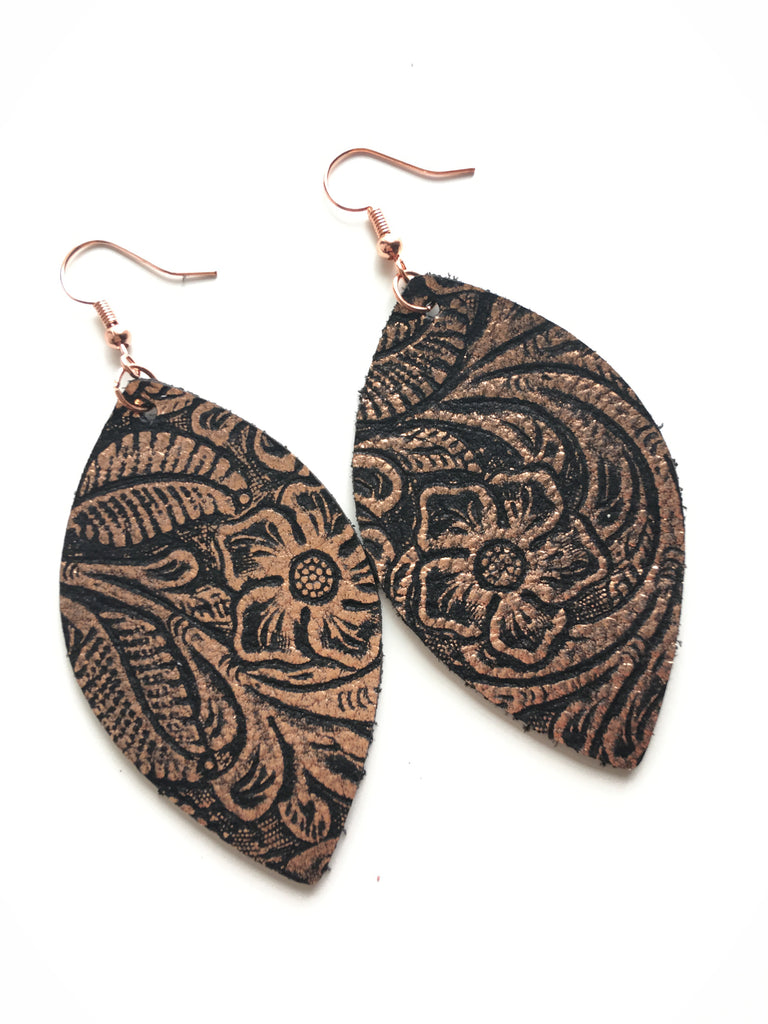 Black with Rose Gold Floral Emboss Earrings