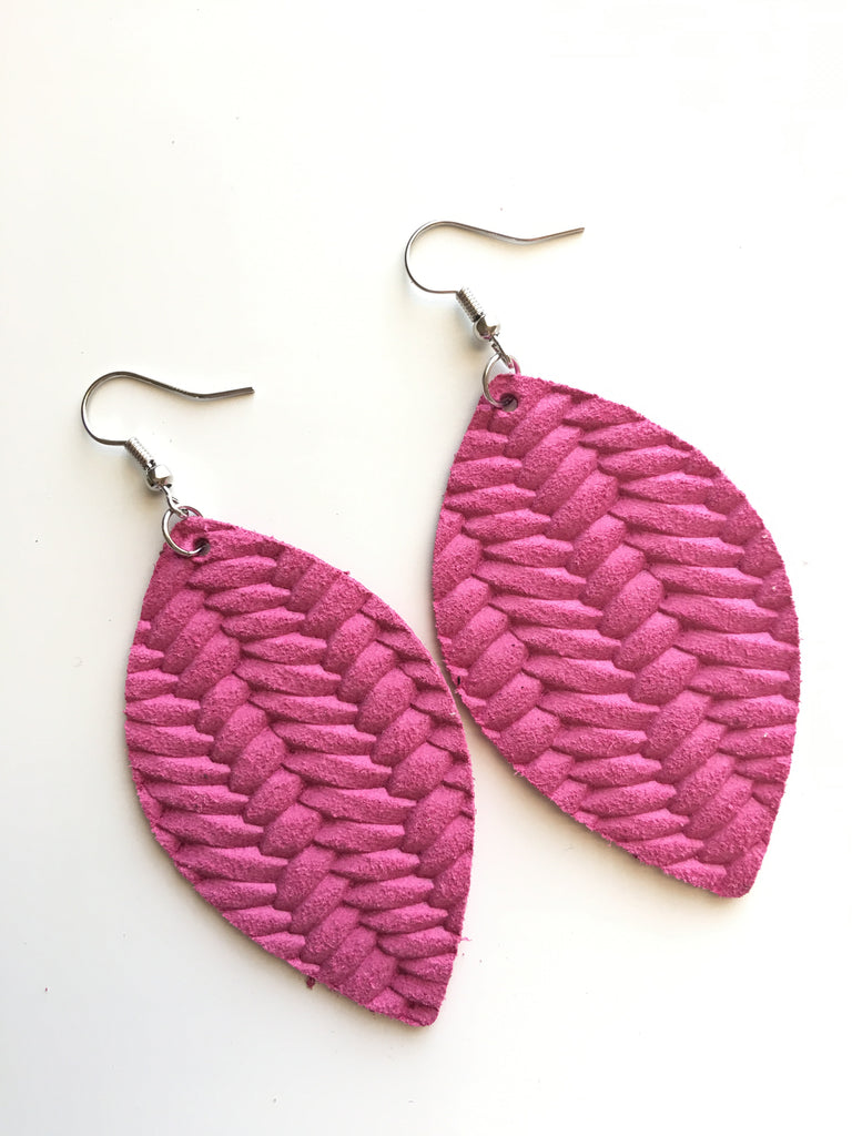 Hot Pink Braided Leather Earrings