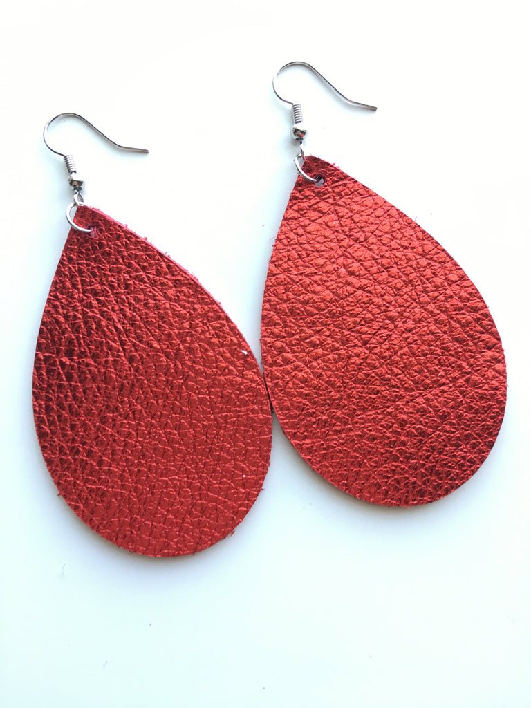 Red Metallic Earrings