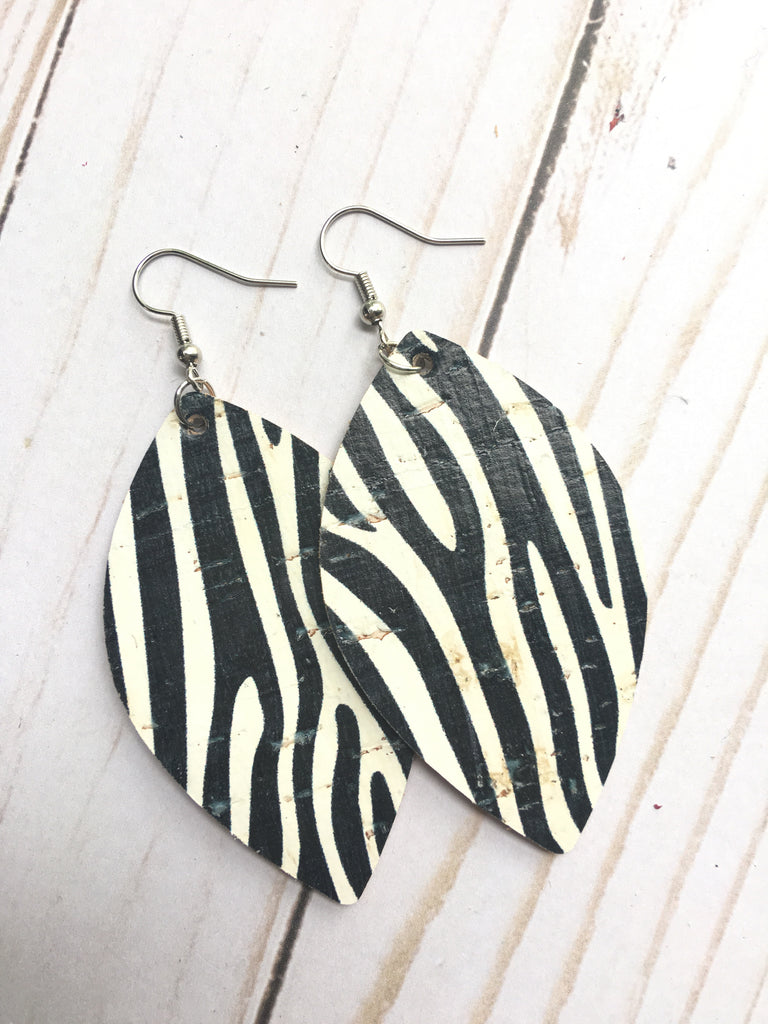 Zebra Cork Leather Earrings