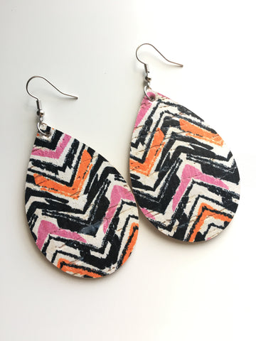 Chevron Multi Cork Leather Earrings