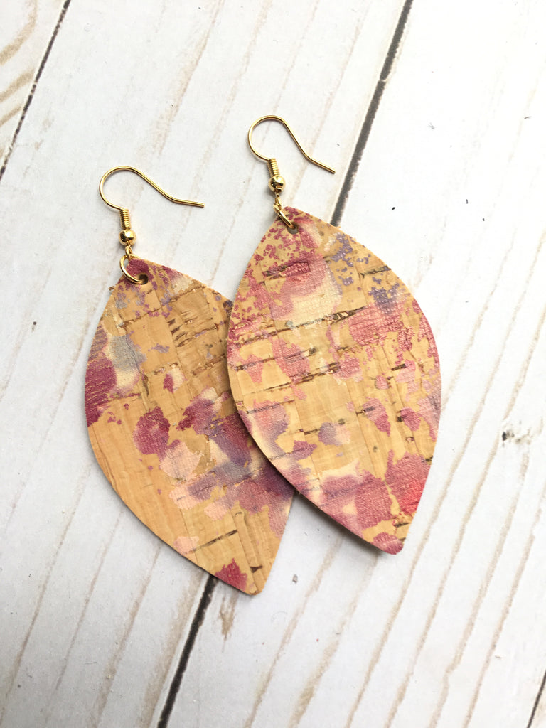 Cranberry Burst Cork Leather Earrings