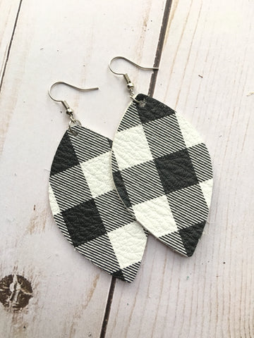 Buffalo Check Leather Earrings