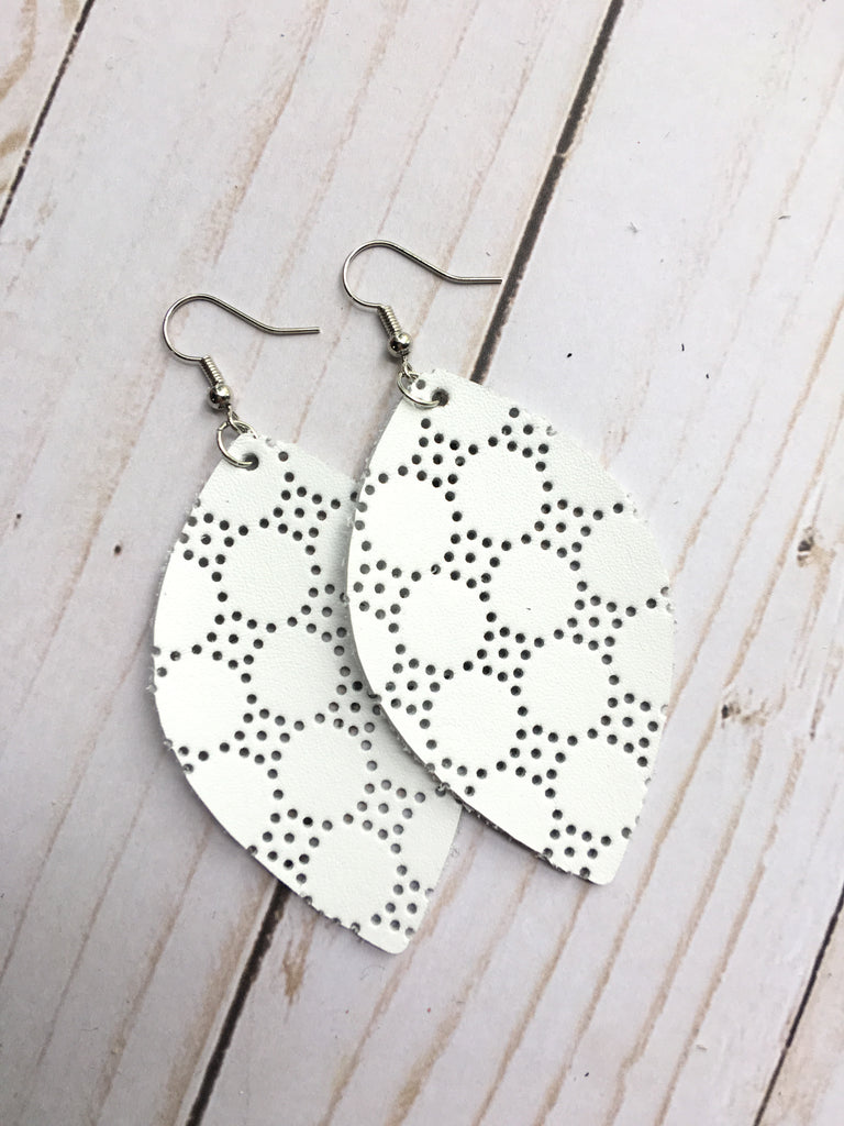 White Perforated Leather Earrings