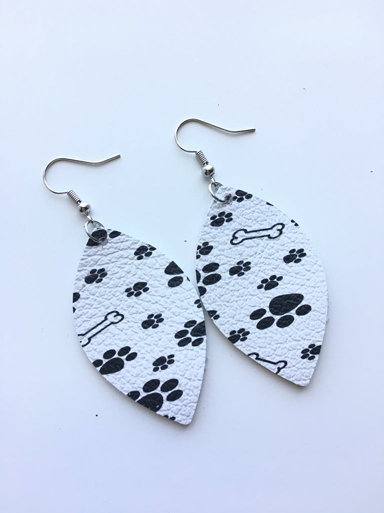 Paw Print Leather Earrings