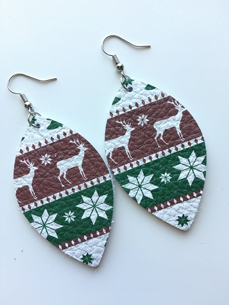 Winter Red and Green Earrings